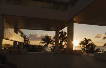 A warm sun setting outside our Cancun location